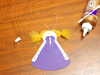 Cardstock and Doily Angel step 19 glue thread for hanging loop