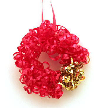Curly Ribbon Ornament step 12 hang finished red and gold ornament