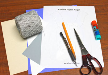 Curved Paper Angel materials and tools