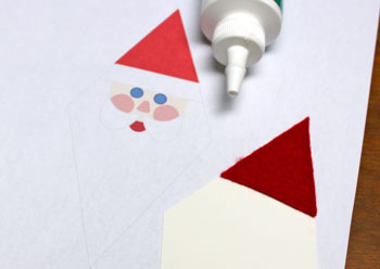 Diamond Santa Claus step 6 glue red hat to poster board