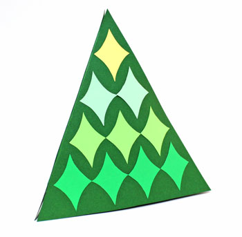 Diamond Shapes Christmas Tree green ombre on display