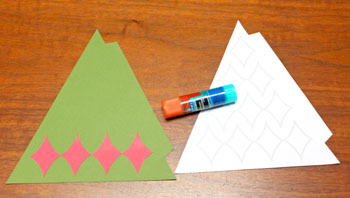 Diamond Shapes Christmas Tree step 5 glue bottom row