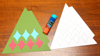 Diamond Shapes Christmas Tree step 6 glue second row