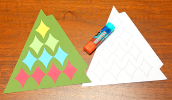 Diamond Shapes Christmas Tree step 8 glue top diamond