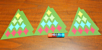 Diamond Shapes Christmas Tree step 9 glue diamonds to other triangles