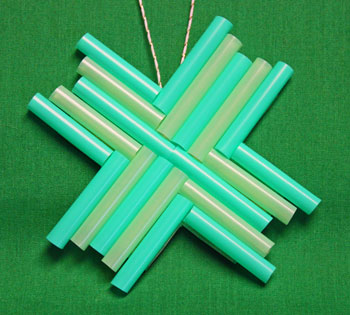 Drinking Straw Mosaic Ornament blue and green finished