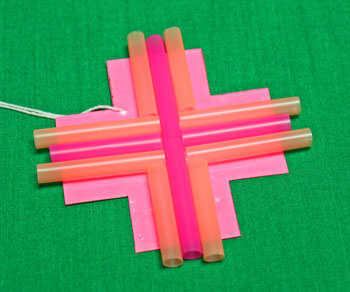 Drinking Straw Mosaic Ornament step 6 position second set of straws