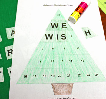 Easy Advent Christmas Tree coloring version step 4 glue letters