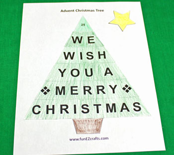 Easy Advent Christmas Tree coloring version step 5 letters glued