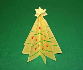 Easy Christmas crafts - folded paper Christmas tree yellow tree glued at base
