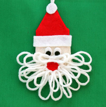 Easy Felt Santa Claus Ornament finished and on display