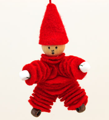 Felt and Bead Elf bright red finished on display