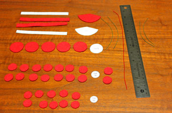 Felt and Bead Elf step 1 cut materials