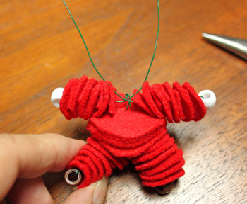 Felt and Bead Elf step 11 insert arm wires