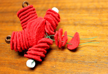 Felt and Bead Elf step 12 add felt for neck