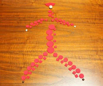 Felt and Bead Elf step 2 arrange materials