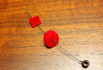 Felt and Bead Elf step 4 begin adding felt to wire