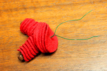 Felt and Bead Elf step 8 twist torso wires