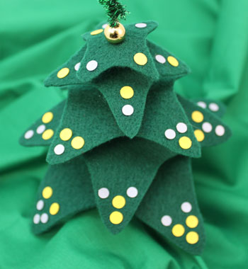 Felt and Chenille Wire Christmas Tree decorated