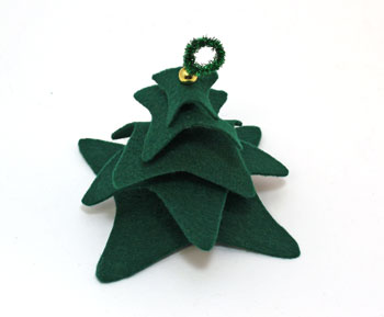 Felt and Chenille Wire Christmas Tree step 7 add bead and top wire loop