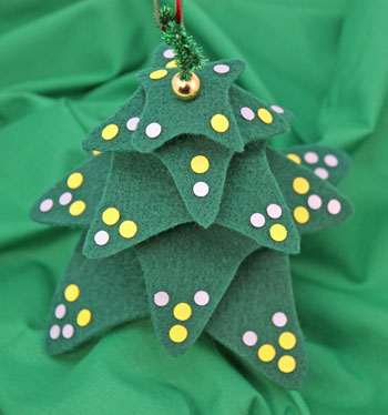 Felt and Chenille Wire Christmas Tree with embellishments