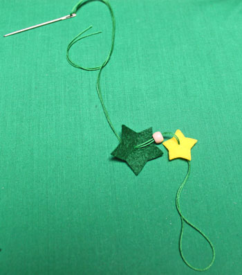 Felt Stars Christmas Tree step 4 add bead and second star