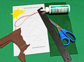 Felt Triangles Christmas Tree materials and tools
