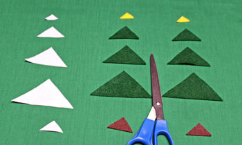 Felt Triangles Christmas Tree step 1 cut two of each shape