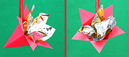 Five-point paper cone star step 12 hand to display