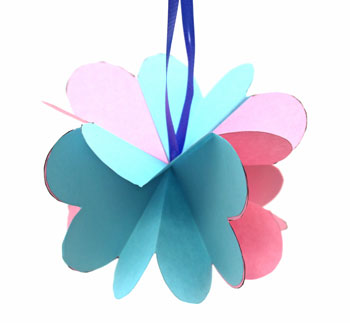 Folded Heart Ornament pretty pink and blue example