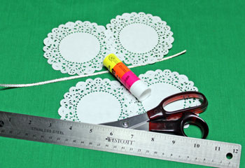 Folded Paper Doily Ornament materials and tools
