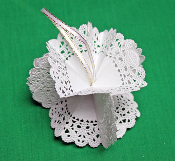 Folded Paper Doily Ornament step 11 glue around the loop
