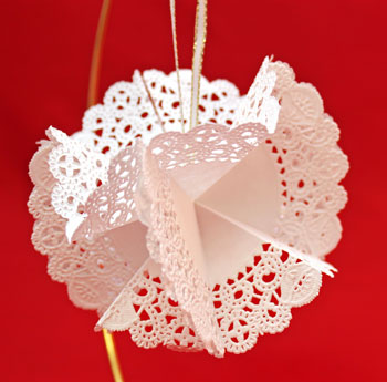 Folded Paper Doily Ornament step 13 hang the decoration to display