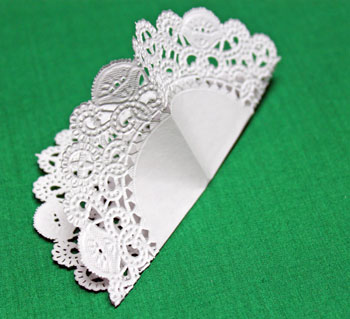 Folded Paper Doily Ornament step 2 make second fold in half