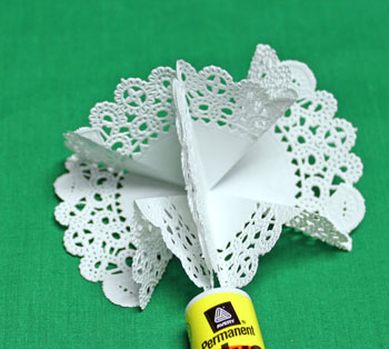 Folded Paper Doily Ornament step 7 glue two shapes together