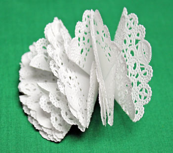 Folded Paper Doily Ornament step 8 glued shapes