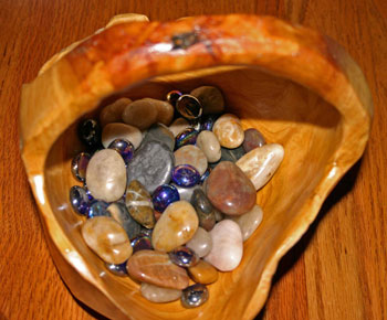 frugal fun crafts decorate with color carved wooden basket with rocks and marbles