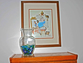 frugal fun crafts decorate with color glass vase with blue green marbles