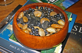 frugal fun crafts decorate with color wooden bowl with rocks and marbles
