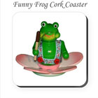 Funny Green Frog Cork Coaster on funEZ Bazaar