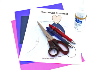 Heart Angel Ornament materials and tools