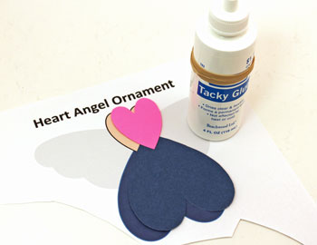 Heart Angel Ornament step 2 glue hearts together