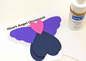 Heart Angel Ornament step 3 glue hearts to wings