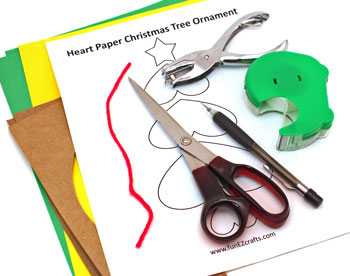 Heart Paper Christmas Tree Ornament materials and tools