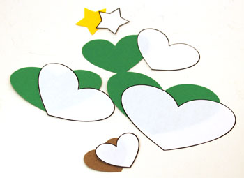 Heart Paper Christmas Tree Ornament step 1 cut shapes