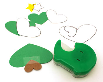 Heart Paper Christmas Tree Ornament step 2 tape large green heart over small brown heart