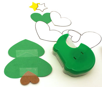 Heart Paper Christmas Tree Ornament step 3 tape medium green heart over large heart