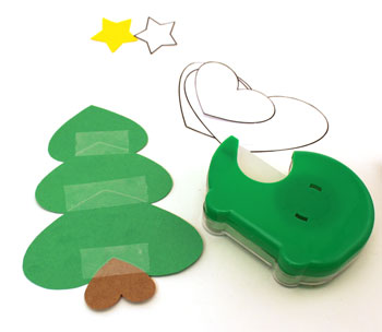 Heart Paper Christmas Tree Ornament step 4 tape small green heart over medium heart