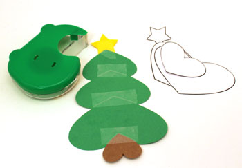 Heart Paper Christmas Tree Ornament step 5 tape star over small green heart