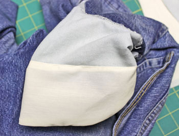 How to repair jeans pocket step 15 showing finished inside of repaired pocket